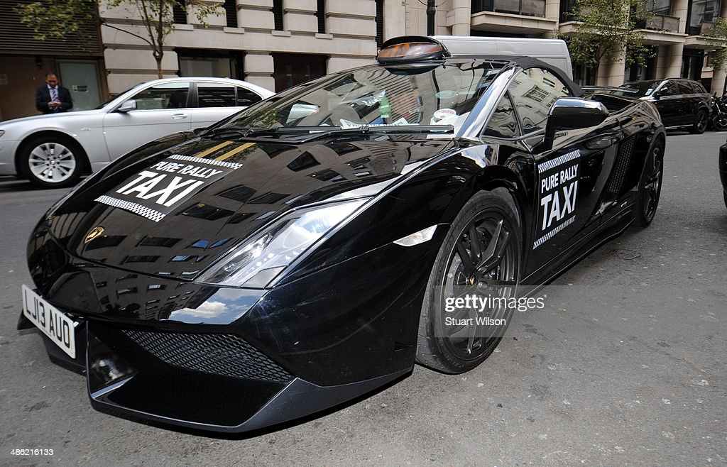 General view of a Lamborghini taxi to launch the 'Lambo Cab' by Pure Rally at The Mayfair Hotel on April 23, 2014 in London, England.