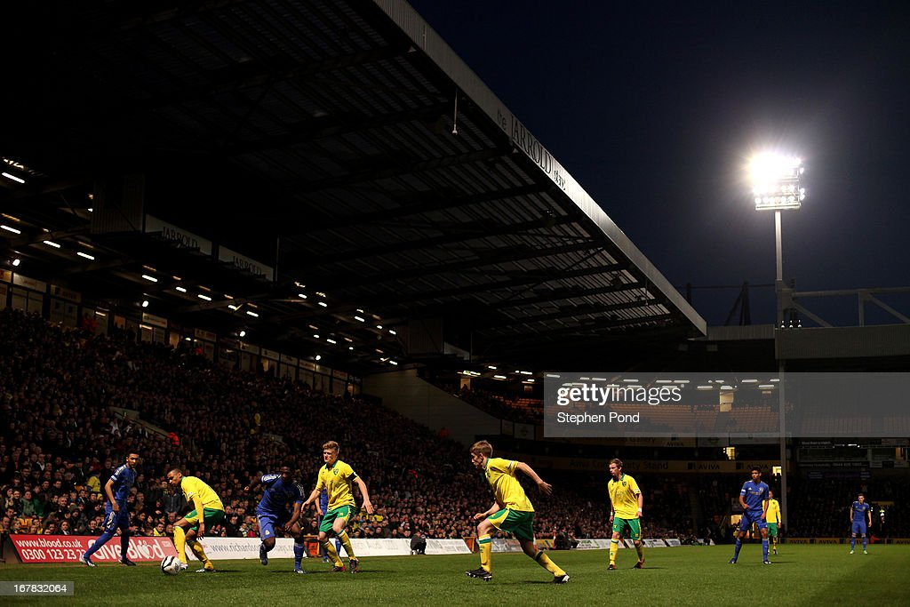 A general view of a large crowd watching the action during the FA Youth Cup Final First Leg match between Norwich City and Chelsea at Carrow Road on April 29, 2013 in Norwich, England.