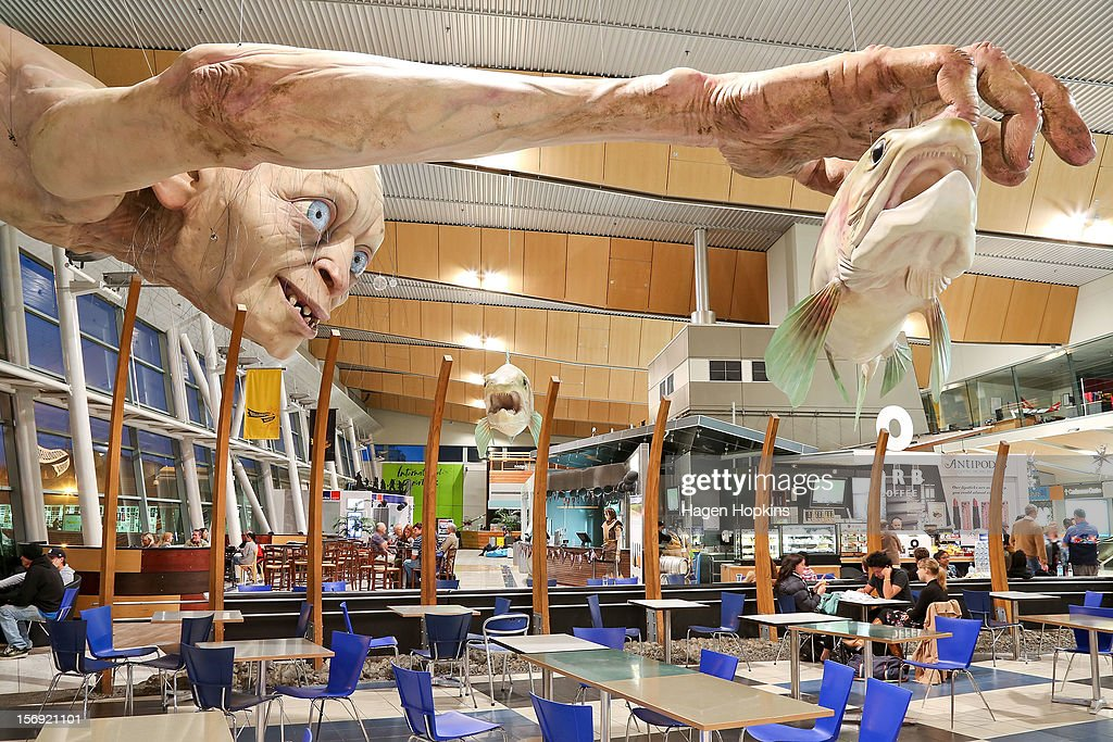 A general view of a large Gollum sculpture installed by Weta ahead of the 'The Hobbit: An Unexpected Journey' world premiere at Wellington Airport on November 25, 2012 in Wellington, New Zealand.