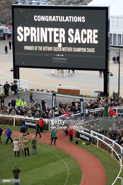 A general view of a large screen displaying Sprinter Sacre as the winner of the Betway Queen Mother Champion Chase during Ladies Day at the 2016...
