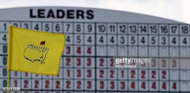 A general view of a leader board during the first round of the 2015 Masters at Augusta National Golf Club on April 9 2015 in Augusta Georgia
