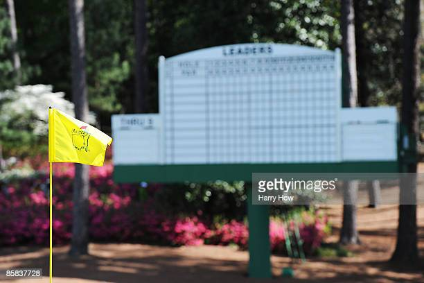 A general view of a leaderboard and flag seen during a practice round prior to the 2009 Masters Tournament at Augusta National Golf Club on April 7...