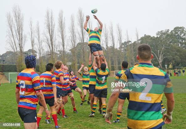 A general view of a lineout as Australian Wallabies coach Ewen McKenzie attends St Kevin's College to watch the St Kevin's College v Scotch College...