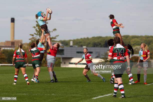 A general view of a lineout during the Tyrrells Premier 15s match between Harlequins Ladies and Firwood Waterloo Ladies at Surrey Sports Park on...