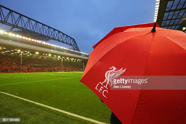 A general view of a Liverpool umbrella and the stadium prior tothe Barclays Premier League match between Liverpool and West Bromwich Albion at...