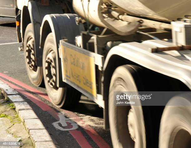 A general view of a Lorry cutting across a cycle lane at Old Street Roundabout on November 14 2013 in London England Mayor Boris Johnson is under...
