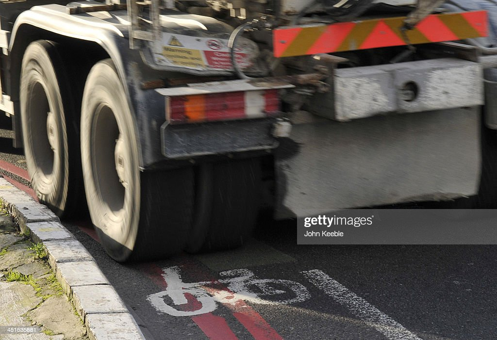 A general view of a Lorry cutting across a cycle lane at Old Street Roundabout on November 14, 2013 in London, England. Mayor Boris Johnson is under pressure to act on road safety in London after the recent deaths of five cyclists in nine days after collisions with busses and lorries, with former transport secretary Lord Adonis calling for an independent review of the cycling 'superhighways' in the capital.