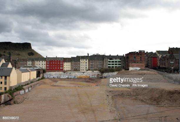A general view of a major building development in Edinburgh's historic Old Town which faces an uncertain future after the company behind the project...