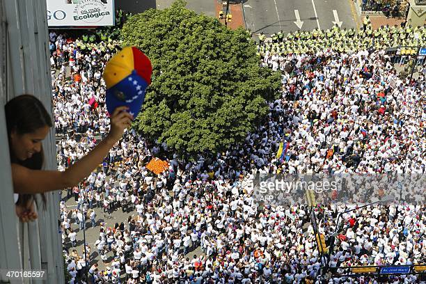 General view of a march following Leopoldo Lopez an ardent opponent of Venezuela's socialist government facing an arrest warrant after President...