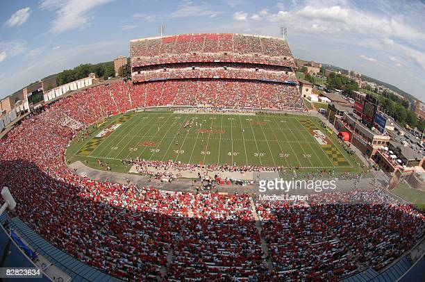 General view of a Maryland Terrapins college football game against the California Golden Bears at Byrd Stadium on September 13 2008 in College Park...