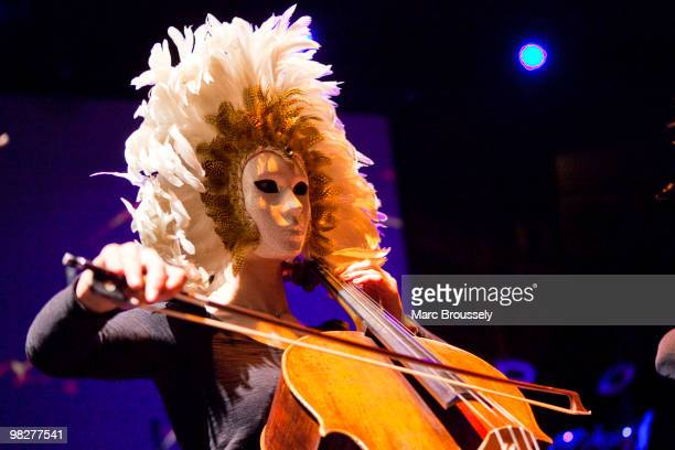 General view of a masked cellist with Tangerine Dream performing at Royal Albert Hall on April 1 2010 in London England