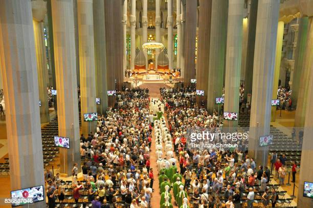 A general view of a mass to commemorate the victims of the terror attack at Sagrada Faamilia basilica on August 20 2017 in Barcelona Spain