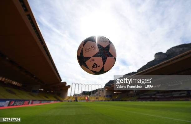 A general view of a match ball ahead the UEFA Champions League Semi Final first leg match between AS Monaco v Juventus at Stade Louis II on May 3...
