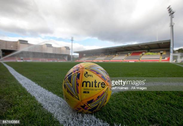 General view of a matchball before the Scottish Premiership match at The Energy Check Stadium at Firhill Glasgow