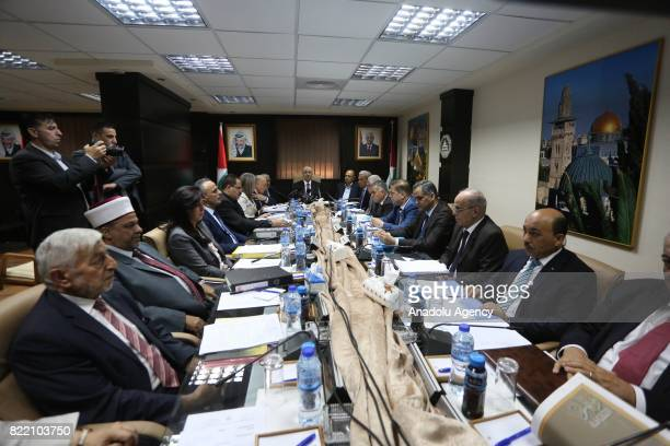 A general view of a meeting of Palestine Government in alRamm town of northeast Jerusalem on July 25 2017 Palestinian Government indicated with...