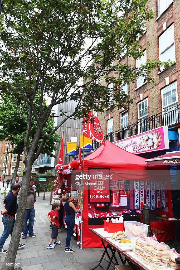 A general view of a merchandise stall outside the ground prior to the Barclays Premier League match between Arsenal and Aston Villa at Emirates Stadium on August 17, 2013 in London, England.