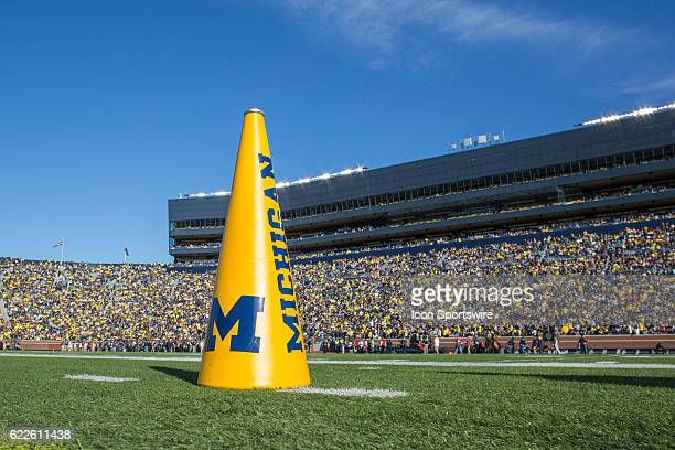 A general view of a Michigan cheerleader's megaphone on the turf during game action between the Maryland Terrapins and the Michigan Wolverines on...