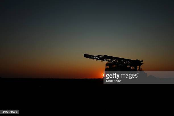 A general view of a mining truck is seen as the sun sets on October 21 2015 in Coober Pedy Australia