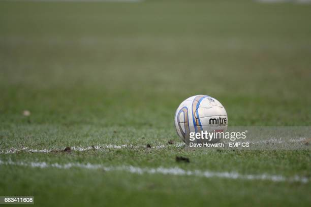 A general view of a Mitre matchball sitting on the pitch before a goal kick