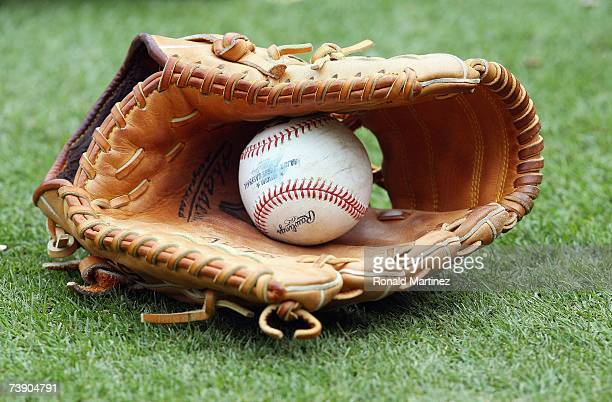 A general view of a MLB ball and glove taken before the game between the Boston Red Sox and the Texas Rangers at Rangers Ballpark April 8 2007 in...