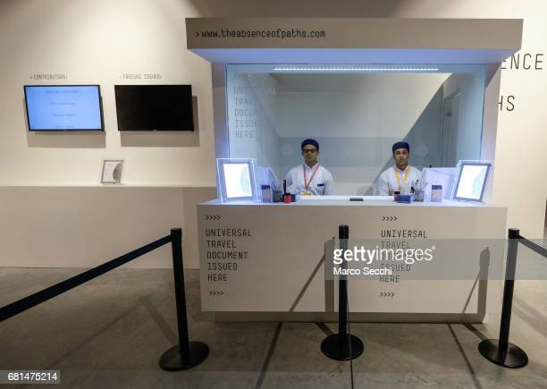 A general view of a mock customs check point entitled #theabsenceofpaths in the Tunisian pavilion on May 10 2017 in Venice Italy The 57th...