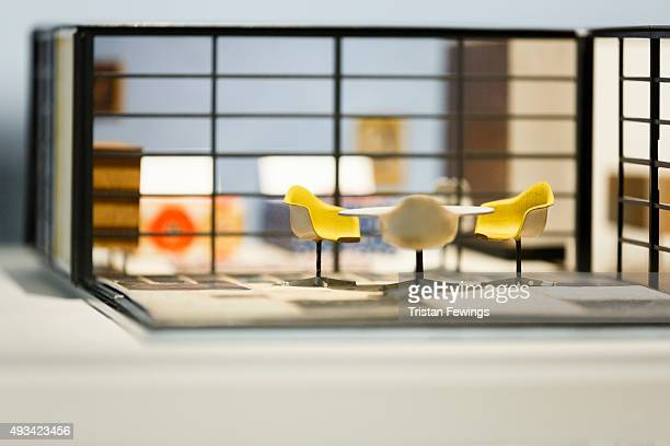 A general view of a model at The World of Charles and Ray Eames exhibition at the Barbican Art Gallery at Barbican Centre on October 20 2015 in...