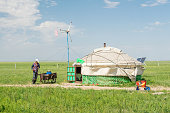 A general view of a Mongolian herdsman and his Mongolian yurt on August 5 2015 in Xilin Gol Inner Mongolia Mongolian yurt is a traditional residence...
