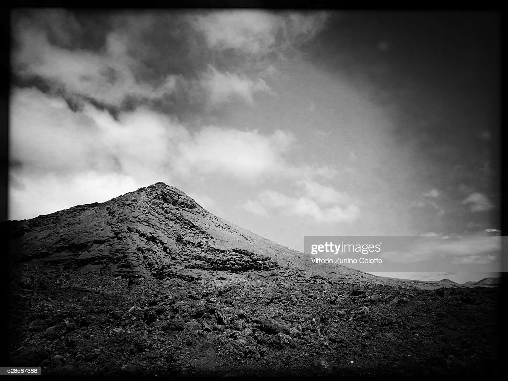 A general view of a mountain in El Golfo on April 23, 2016 in Lanzarote, Spain.