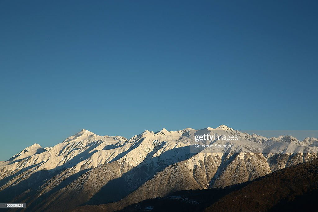 A general view of a mountain peak at Rosa Khutor Mountain ahead of the Sochi 2014 Winter Olympics on February 2, 2014 in Sochi, Russia