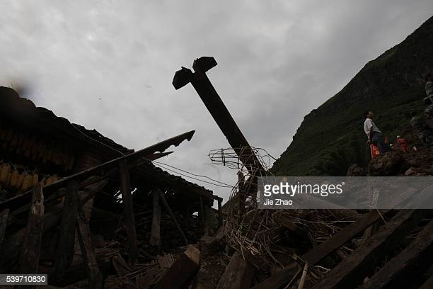 A general view of a mudslide gestures at Wama Village of Baoshan Yunnan Province September 3 2010 Chinese rescuers on Friday searched a remote...