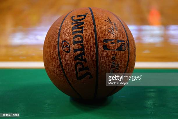 A general view of a NBA game ball during the fourth quarter of the game between the Boston Celtics and the Indiana Pacers at TD Garden on April 1...