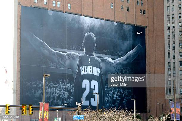 A general view of a new LeBron James banner outside Quicken Loans Arena before a game between the Cleveland Cavaliers and the New York Knicks on...