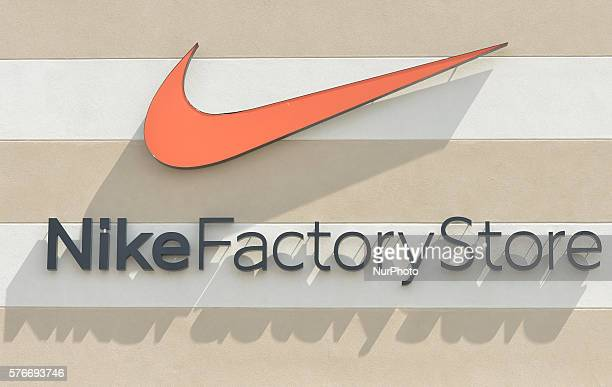 A general view of a Nike logo seen in South Edmonton Common a retail power centre located in Edmonton Alberta The flagship shopping complex is spread...