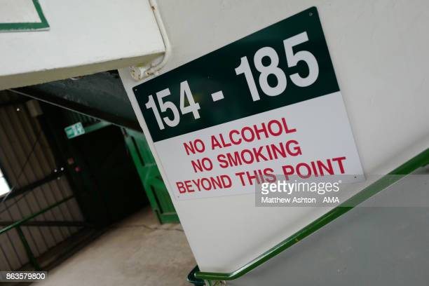 A general view of a no smoking and no alcohol sign at Home Park home stadium of Plymouth Argyle prior to the Sky Bet League One match between...