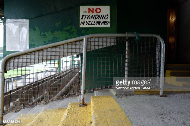 A general view of a no standing in the yellow area sign at Home Park home stadium of Plymouth Argyle prior to the Sky Bet League One match between...