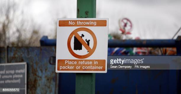 General view of a No throwing Place refuse in packer or container sign at the Springfield Recycling Plant in Chelmsford Essex