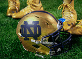 General view of a Notre Dame Fighting Irish helmet on the field during the game against the Purdue Boilermakers at Lucas Oil Stadium on September 13...