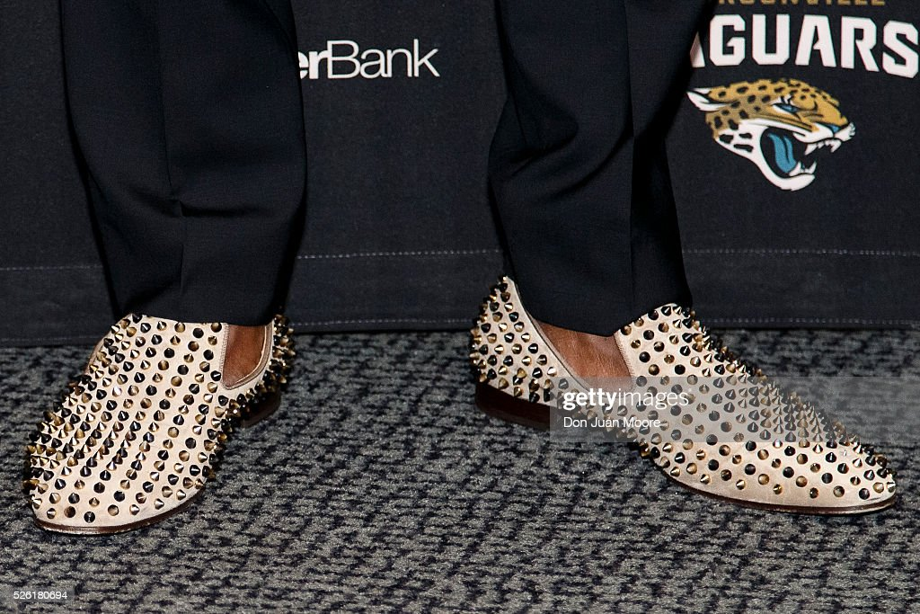 A general view of a pair of Christian Louboutin Dandelion Spikes Flat shoes worn by Cornerback <a gi-track='captionPersonalityLinkClicked' href=/galleries/search?phrase=Jalen+Ramsey&family=editorial&specificpeople=11328626 ng-click='$event.stopPropagation()'>Jalen Ramsey</a> of the Jacksonville Jaguars as he is being introduced to the media for the first time at EverBank Field on April 29, 2016 in Jacksonville, Florida. The Jaguars selected Ramsey fifth overall out of Florida State University in the 2016 NFL Draft.