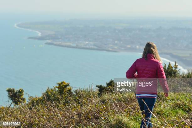 A general view of a part of BrayGreystones cliff walk near Greystone On Sunday March 26 in Bray Ireland