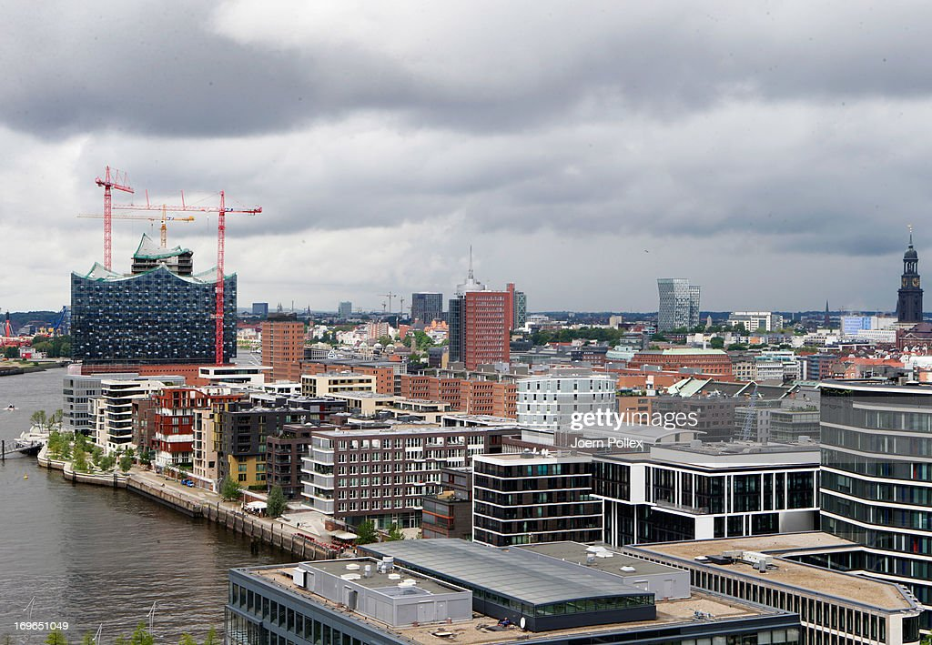 General view of a part of the HafenCity project and the Elbe Philharmonic Hall on May 29, 2013 in Hamburg, Germany. The HafenCity project is Europe's biggest inner-city development project. The old port warehouses of Hamburg are being replaced with offices, hotels, shops, official buildings, and residential areas. Completion is planned for 2025.