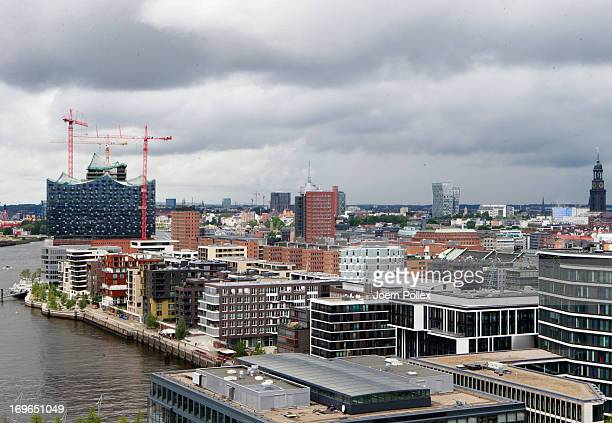 General view of a part of the HafenCity project and the Elbe Philharmonic Hall on May 29 2013 in Hamburg Germany The HafenCity project is Europe's...