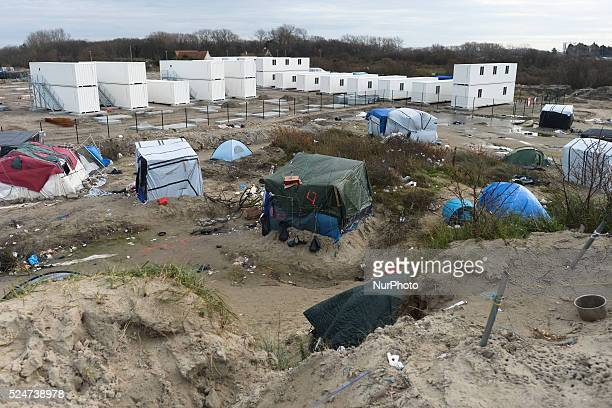 A general view of a part of the Jungle camp with a new constructions site in the background Calais France on Saturday 19 December 2015