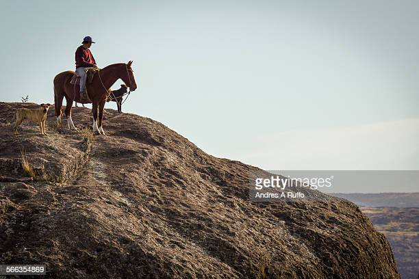 General view of a person looking at the horizon on a brown horse with dogs on top of a rocky mountain in the province of Cordoba Argentina on the...