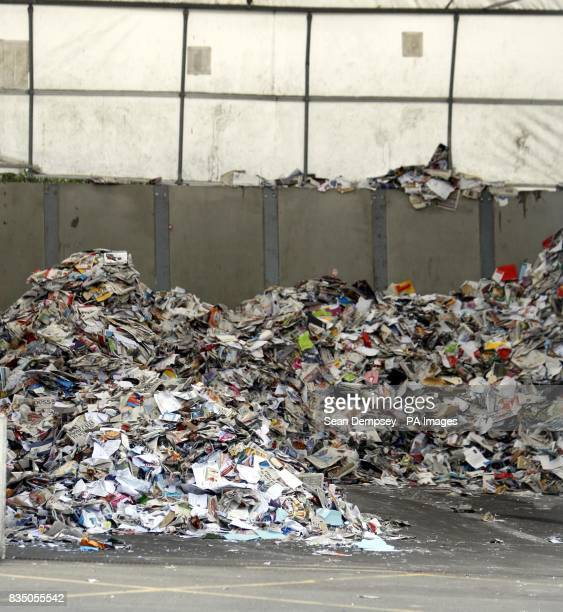 General view of a pile of paper waste at the Springfield Recycling Plant in Chelmsford Essex