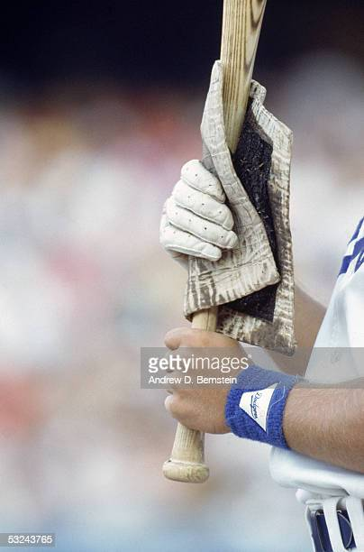 A general view of a Pine Tar rag used to wipe down a players bat taken during a game at Dodger Stadium in Los Angeles California