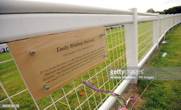 General view of a plaque on Tattenham Corner where Suffragette Emily Davison sustained fatal injuries after being hit by King George V's horse Anmer...