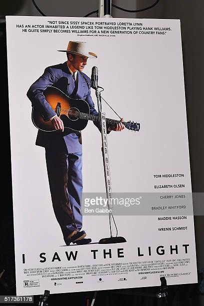 A general view of a poster board at The Cinema Society with Hestia StGermain host a screening of Sony Pictures Classics' 'I Saw the Light' at...
