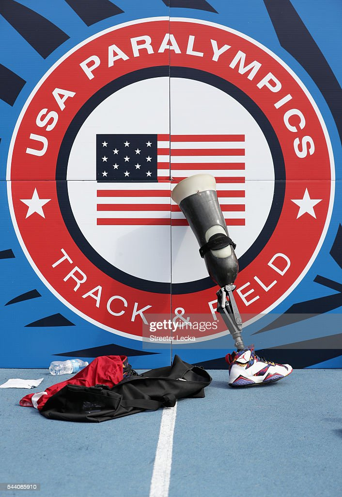 A general view of a prosthetic leg against a sign ahead of preliminaries for the 2016 U.S. Paralympics Trials in Track and Field at Irwin Belk Complex at Johnson C. Smith University on July 1, 2016 in Charlotte, North Carolina.