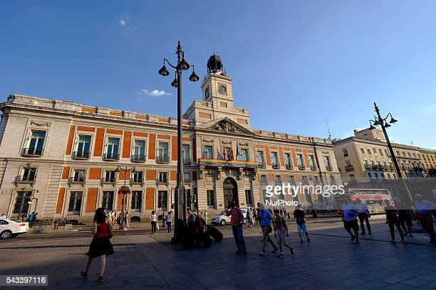 General view of a rainbow flag displayed on the facade of the City Casa de Correos de Madrid building for the Gay Pride Week in Madrid Spain 27 June...