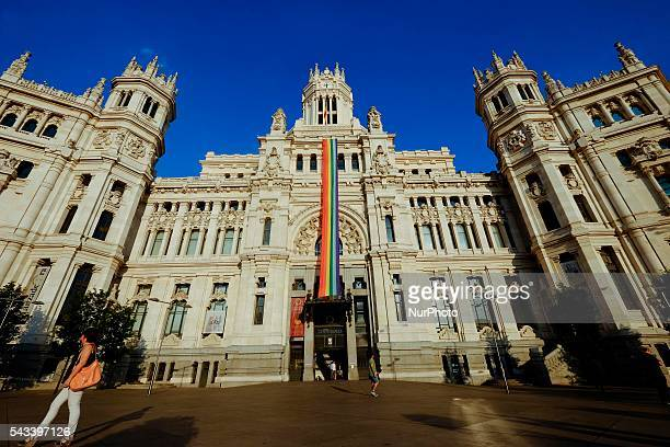 General view of a rainbow flag displayed on the facade of the City Hall de Madrid building for the Gay Pride Week in Madrid Spain 27 June 2016 The...